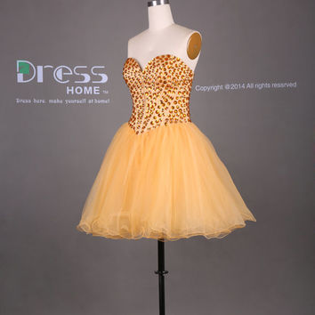 Sexy Yellow Sweetheart Beading Ball Gown Short Homecoming Dress/Above Knee Organza Party Dress/Cheap Homecoming Dress/Prom Dress DH343