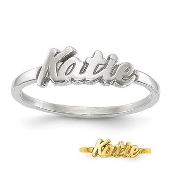 Personalized Sterling Silver Script Font Name Ring