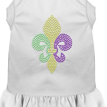 Mardi Gras Fleur De Lis Rhinestone Dress White Lg (14) large