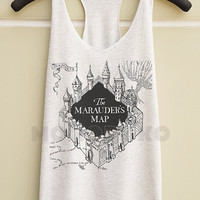 S M L -- The Marauder's Map Shirts Harry Potter Map TShirts Funny Top Women Tank Top Racer Shirts Racer Tank Top Women TShirts Women Shirts