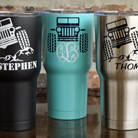 SIC 30 ounce Glacier Tumbler / Jeep Tumbler /Monogrammed / Stainless / Powdercoat / Colored tumbler / Vine Monogram