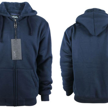 Men's Fleece Hoodie with Sherpa Lining - Navy Case Pack 12