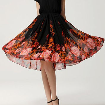 Black Floral Printed Chiffon Dress