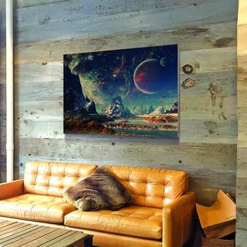 Mountains and Space Wooden Wall Decor