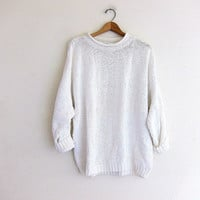 vintage white sweater. slouchy cotton sweater. pullover textured knit sweater. long sweater top