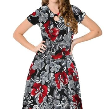 Chicloth 1950s Style Red Monochrome Floral Short Sleeves Swing Dress