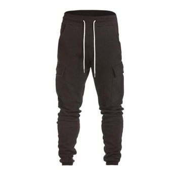 Mens casual personality side pocket jogger pants