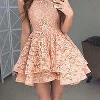 Pink Floral Lace High Waisted Cap Sleeve Skater Tutu Homecoming Party Mini Dress