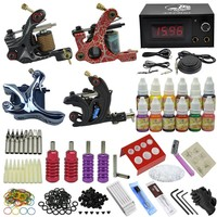 OPHIR Tattoo Complete Kit 4PCS Linner Shader Tattoo Machine Gun with 12 Colors Ink 50 Tattoo Needles Nozzle Crips Tips Set_TA089