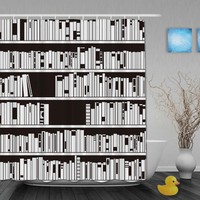 Bookshelf Black White Shower Curtain