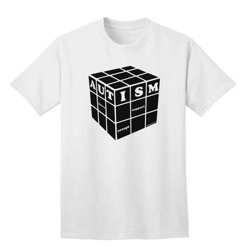 Autism Awareness - Cube B & W Adult T-Shirt
