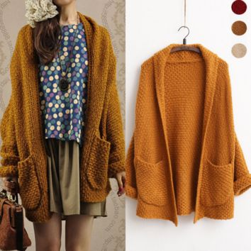 The new solid color knitted cardigan sweater women knit cardigan curling women Brown