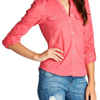 Women's 3/4 Roll Up Sleeve Collared Blouse w/ Full Button Packet & Rib Contrast Panel