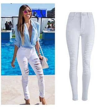 Fashion Women Ripped Denim Jeans Skinny Hole Pants  Stretch Daily Jeans Slim High Waist Pencil Trousers White F80
