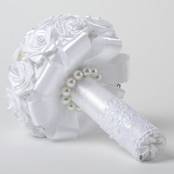 Snow white festive handmade wedding bouquet with satin ribbon flower unqiue idea