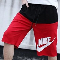 NIKE men's classic monogram print short pants pure cotton loop casual sport loose pants