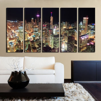 Large Wall Art CHICAGO Canvas Print - Colorful Light at night in Chicago