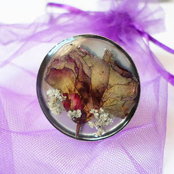 Real Pressed Flower Resin Ring, Nature Inspired Ring, Eco Chic Ring, Resin Jewelry, Rustic Jewelry Ring, Boho Mori Girl Ring, Unique ring