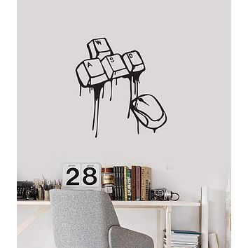 Vinyl Wall Decal Gaming Keyboard Mouse Gamer Room Interior Art Stickers Mural (ig5746)