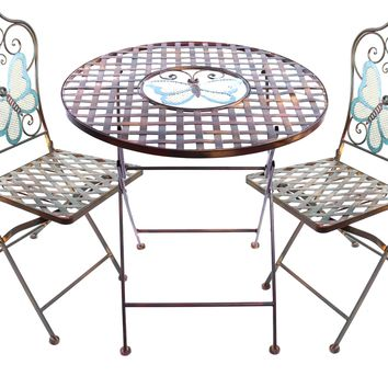 Butterfly Table and Two Chairs Bistro Set -Alpine