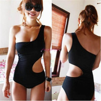 Women's Hollow out One Shoulder Monokini Summer Swimsuit Bathing Suit M L XL_trq = 1956791812