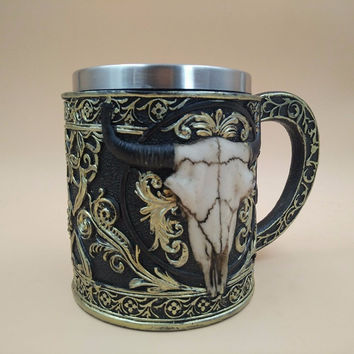 Personality Stainless Steel Coffee Mugs 3D Skull Mugs Cow Tankard Dragon Cups And Mugs Monster Goblet Unique Drinkware