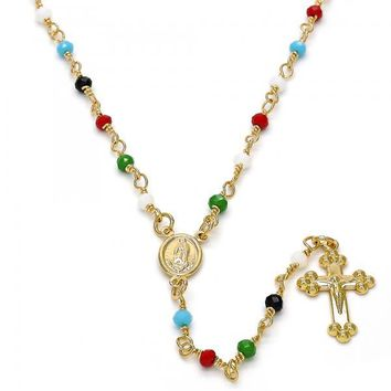 Gold Layered 09.63.0103.18.GT Thin Rosary, Guadalupe and Crucifix Design, with Multicolor Azavache, Polished Finish, Gold Tone