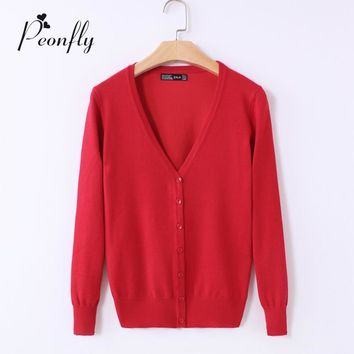 20 Solid Colors new Sweater Women Cardigan Knitted Sweater Coat Long Sleeve Crochet Female Casual V-Neck Woman Cardigans Tops