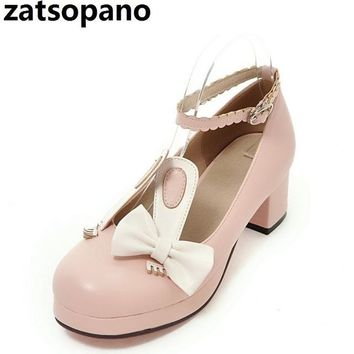 Zatsopano 32-43 2018 Rabbit Ears Ribbon Fluffy Pumps High Heel Shoes Japan Style Student Lolita Shoes Lovely Pumps Cosplay Shoes