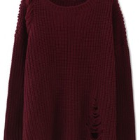 Shredded Knit Sweater in Wine Red
