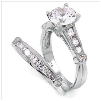 Sterling Silver 1.25 carat Round cut CZ Bezel and Channel set Wedding Ring Set size 5-9