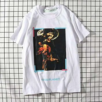 OFF White Popular Women Men Casual Print T-Shirt Top Tee Blouse White