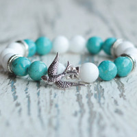 bird bracelet blue and white boho bracelet women beaded bracelets bird charm gift for sister neighbor Birthday gift free bracelet girlfriend