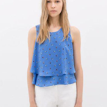 Polka Dot Layered Sleeveless Chiffon Cropped Top