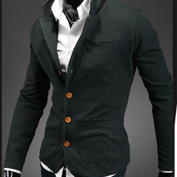 Mens Slim Collared Button-Up Jacket