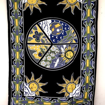 Tapesty Hippie Boho Wall, Psychedelic Peace SUN Tapestry Wall Hanging, Indian Bedspread Bohemian Room Décor, Dorm Bedding Tapestry Art