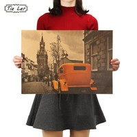 TIE LER Yellow Vintage Car London Street Poster Kraft Paper Bar Poster Retro Poster Decorative Painting Wall Stickers 51.5X36cm