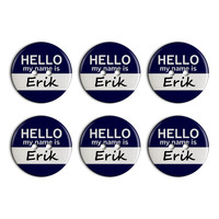 Erik Hello My Name Is Plastic Resin Button Set of 6