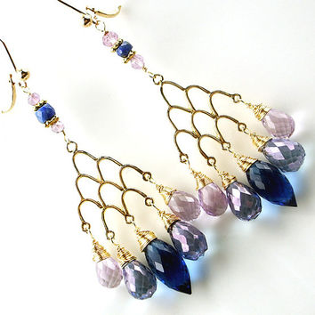 MEMORIAL DAY SALE Sale Blue Violet Chandelier Earrings Wire Wrap14kt Gold Filled Cobalt Blue Quartz Pink Amethyst Denim Quartz Gemstones