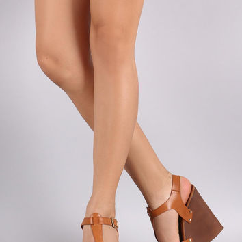 Studded T-Strap Faux Wooden Platform Wedge