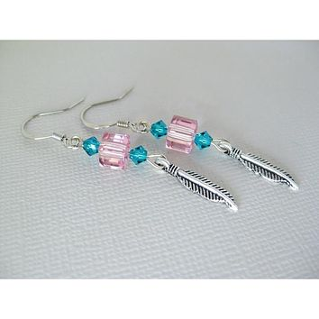 Pink and Blue Zircon Swarovksi Crystal Earrings with Feather