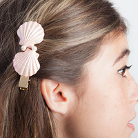 Pink Seashell and Pearl Hair Barrette