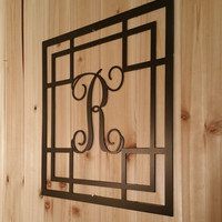 Metal Vine Monogram Initial with Detailed Square Border