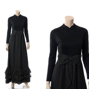Vintage 60s Miss Elliette Black Ruffle Long Dress 1960s Polka Dot Tiered Formal Cocktail Party Prom Maxi Dress / X-S to S