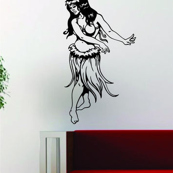 Hula Girl V3 Decal Sticker Wall Vinyl Art Room Wall Decor Decoration Hawaii Tropical Aloha Dance
