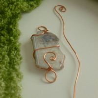 Copper wrapped White Mineral stone Scarf Pin/Shawl Pin