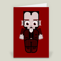 Ruddy Red Dracula Dave Folded Card by boxedspapercrafts on BoomBoomPrints