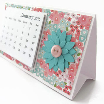 2015 Desk Calendar, Desktop Calendar, Pink and Teal Floral Calendar