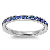 Celina's Stainless Steel Saphire CZ Stackable Eternity Ring