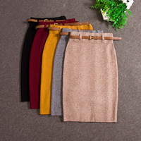 2017 Fashion Skirts Autumn winter Casual Women High Waist Knee-length Knitted Pencil Skirt Elegant slim Long Skirts